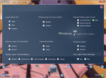 Windows 7 Logon Screen Tweaker Tools