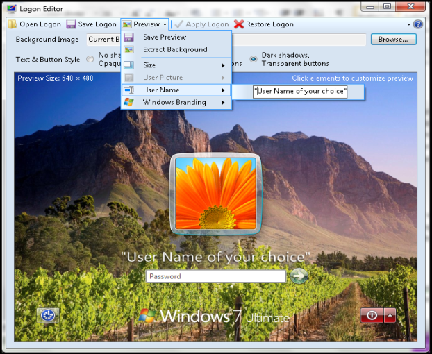 Windows 7 Logon Editor Portable
