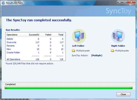Microsoft Sync Toy file synchronization