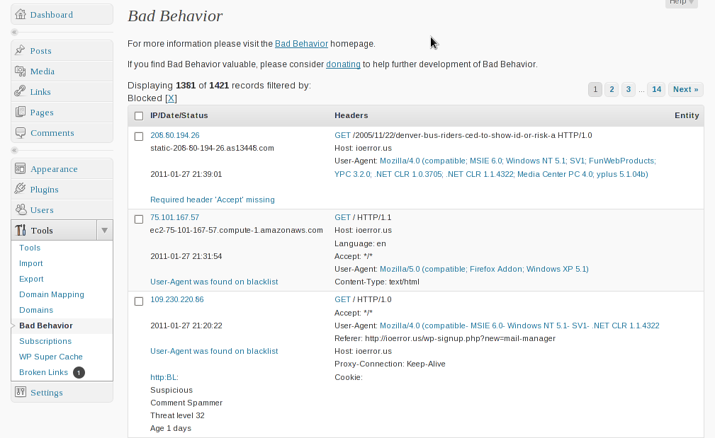Bad Behavior - Best WordPress plugin against spam