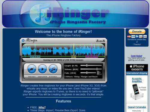 Make free iPhone ringtones with iRinger