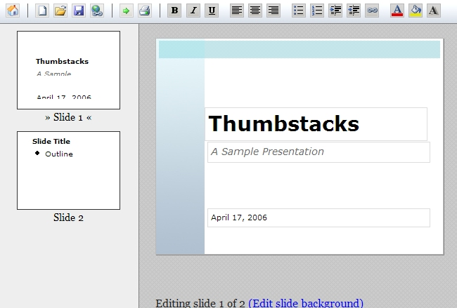 Thumbstacks.com - Online slideshow presentation tool