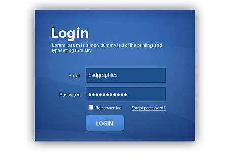 blue login box PSD download