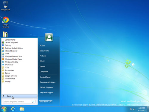 No Windows 8 Metro UI interface