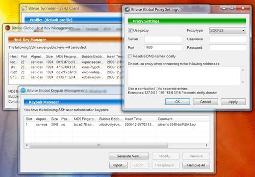 BitVise tunnelier free windows SSH client