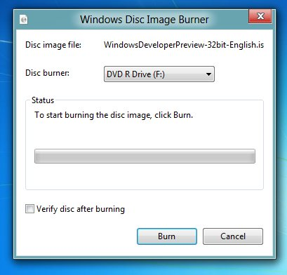 Windows 8 Disk Image Burner