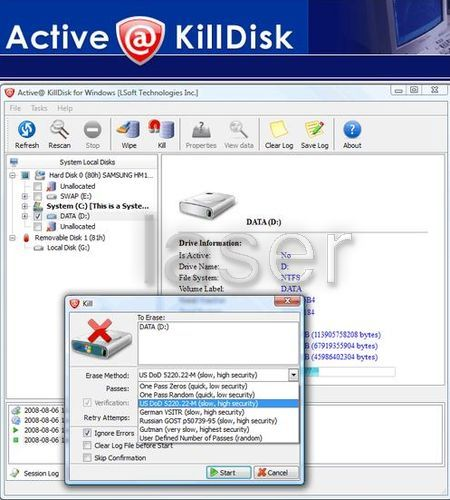 Active Kill Disk - Secure Deletion of data forever