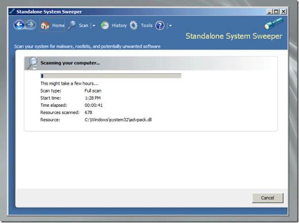 Bootable System Sweeper Scan