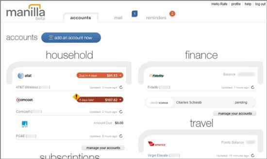 manilla online household finance management