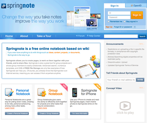 Spring Note Free Wiki Hosting