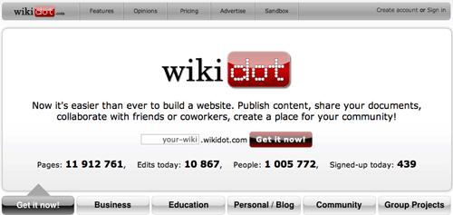 Wikidot free wiki hosting