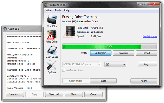 hard wipe - free data wiper software