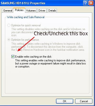 Disk write cache