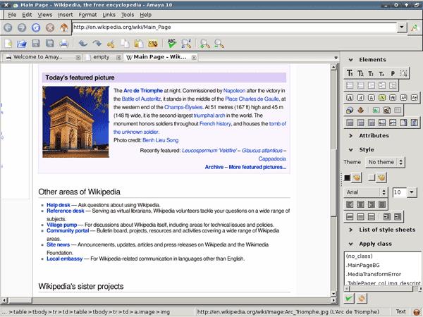 Amaya free Web Design suite