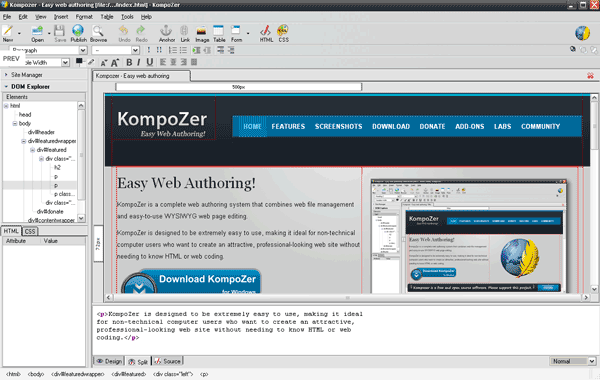 Kompozer free web design suite