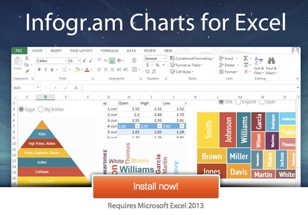 create infographics with infogram charts on microsoft excel
