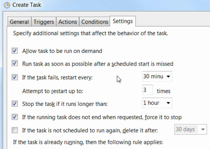 Task Scheduler Setting Tab