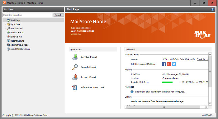 mailstore home - free email backup
